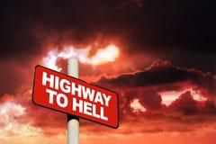 Strada principale al segno di inferno fotografia stock libera da diritti