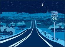 Strada principale all'ovest alla notte Illustrazione di Stock
