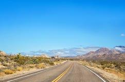 Strada principale attraverso un paesaggio del deserto con le montagne ed il fogliame verde Immagine Stock Libera da Diritti