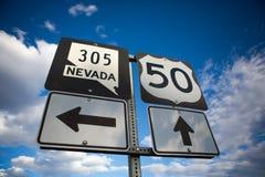 Strada principale 50 del Nevada Fotografie Stock