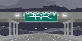 Strada principale del sottopassaggio della strada o autostrada e contrassegno verde all'illustrazione di notte royalty illustrazione gratis