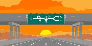 Strada principale del sottopassaggio della strada o autostrada e contrassegno verde nel surise, illustrazione di tempo di tramont illustrazione vettoriale
