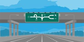 Strada principale del sottopassaggio della strada o autostrada e contrassegno verde nell'illustrazione di giorno royalty illustrazione gratis