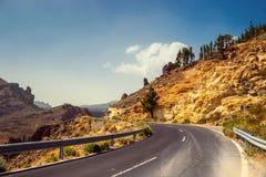 Strada principale dell'altopiano in Tenerife, Isole Canarie fotografia stock libera da diritti