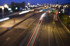 Strada principale della città alla notte Immagine Stock