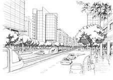 Strada principale della città - disegno architettonico Immagine Stock Libera da Diritti