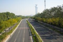 Strada principale della città, torre dell'allerta, Immagine Stock Libera da Diritti