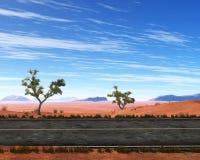 Strada, strada principale, deserto desolato, entroterra, illustrazione immagine stock