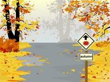 Strada principale di autunno, paesaggio Royalty Illustrazione gratis