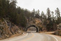 Strada principale di bobina tramite un tunnel della roccia Immagini Stock Libere da Diritti