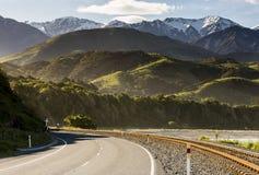 Strada principale di stato di Kaikoura, NZ Immagine Stock Libera da Diritti