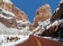 Strada principale di Zion in inverno Fotografie Stock