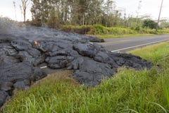 Strada principale in Hawai, che si sono distrutte tramite un flusso di lava Fotografia Stock Libera da Diritti