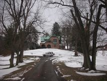 Strada privata di Snowy Fotografia Stock