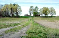 Strada privata lunga ad un granaio rurale nel Michigan U.S.A. Immagini Stock Libere da Diritti
