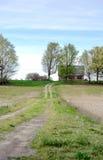Strada privata lunga ad un granaio rurale nel Michigan U.S.A. Fotografia Stock Libera da Diritti