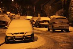 Strada residenziale nell'inverno Fotografia Stock