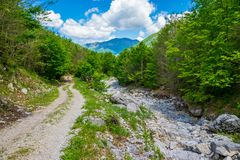 Strada rocciosa d'avvolgimento Fotografie Stock