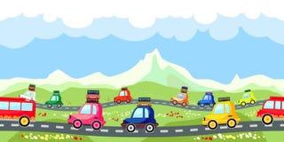 Strada rurale con una linea di traffico turistico Fotografie Stock Libere da Diritti
