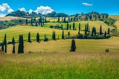 Strada rurale d'avvolgimento pittoresca con i cipressi in Toscana, Italia, Europa fotografia stock