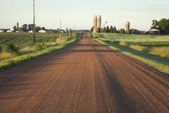 Strada rurale del Minnesota con le aziende agricole alla luce di mattina immagine stock libera da diritti