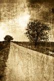 Strada rurale nello stile dell'annata di seppia fotografia stock