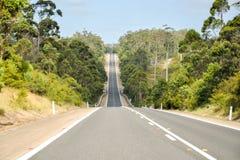 Strada sigillata lunga attraverso la foresta subtropicale Fotografia Stock