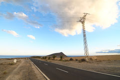Strada sola nel deserto Fotografia Stock Libera da Diritti