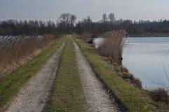 Strada sporca accanto al lago Immagine Stock