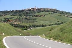 Strada in Toscana, Pienza Immagine Stock