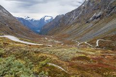 Strada turistica nazionale di Gamle Strynefjellsvegen Fotografia Stock Libera da Diritti