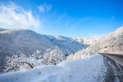 Strada in un giorno soleggiato, passaggio di Rikoti, Georgia della montagna Fotografia Stock Libera da Diritti