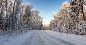 Strada in una foresta, Russia, i Urals di inverno di Snowy, Fotografie Stock