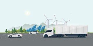 Strada urbana della via del paesaggio con le automobili elettriche ed il camion dei semi Immagini Stock