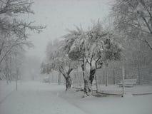 Strada urbana di Snowy Fotografie Stock Libere da Diritti
