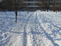 Strada urbana nella neve Immagine Stock Libera da Diritti