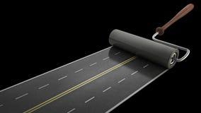 Strada verniciata isolata sul nero Fotografia Stock