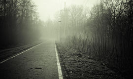 Strada vuota in bianco e nero Immagine Stock