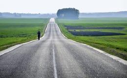 Strada vuota della campagna attraverso i campi con grano, cielo Fotografia Stock Libera da Diritti