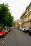Strada vuota delle vie sul fine settimana a Zagabria croatia Fotografia Stock