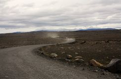 Strada vuota in Islanda Fotografia Stock Libera da Diritti