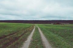 Strada vuota nel campo Fotografia Stock