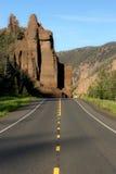 Strada a yellowstone Immagini Stock