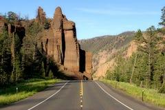 Strada a yellowstone Fotografia Stock Libera da Diritti
