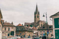 Stradal άποψη του Sibiu στο καλοκαίρι Στοκ φωτογραφίες με δικαίωμα ελεύθερης χρήσης
