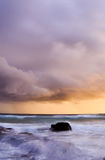 Straddie Storm. Sunrise during a storm off Deadman's Beach on North Stradbroke Island, Queensland, Australia Stock Photo