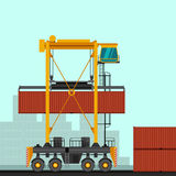 Straddle carrier with container Stock Image