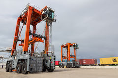 Straddle carrier container port Royalty Free Stock Image