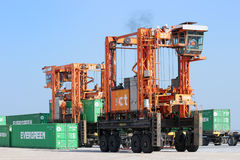 Straddle carrier container Stock Photo