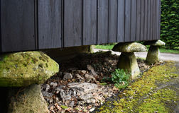 Straddle stones. Some straddle stones holding up an old shed Royalty Free Stock Photo